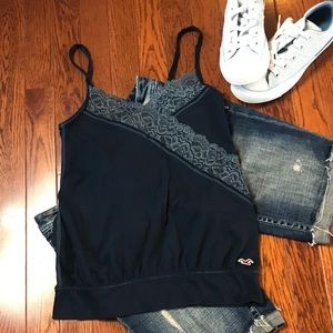 Hollister blue laced sleeveless tank top